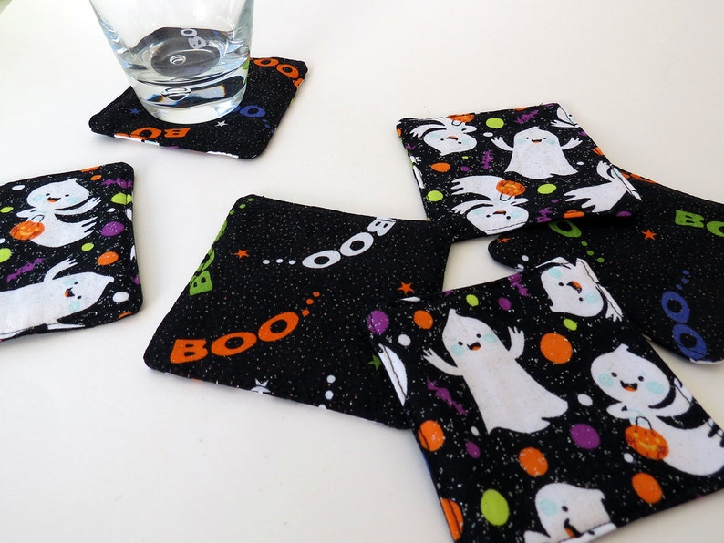 Pair of Reversible Fabric Coasters: Halloween Trick or image 0