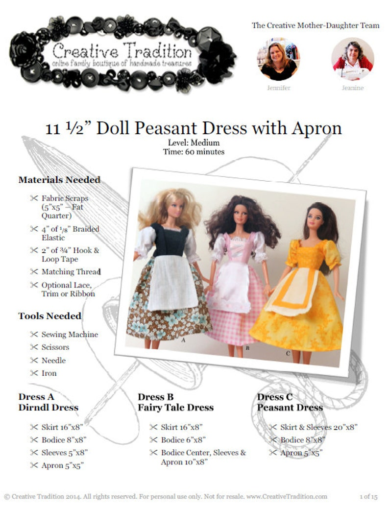 Barbie Peasant Dress with Apron and Octoberfest Dirndl: PDF image 0