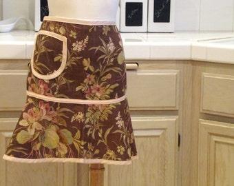 Heirloom Half Apron with Pocket: Brown Autumn Garden with Pale Pink trim