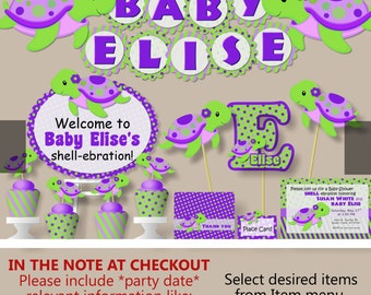 Turtle baby shower etsy turtle baby shower decorations or first birthday girl purple invitation banner cake topper cupcake printed filmwisefo