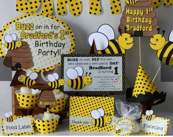 Bumble bee party etsy bumble bee party package baby shower honey bee party decorations bug theme birthday decorations invites invitations centerpieces filmwisefo