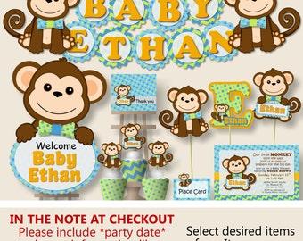 Monkey baby shower etsy boy monkey baby shower decorations monkey first birthday party invitation favor banner cake topper blue green orange filmwisefo