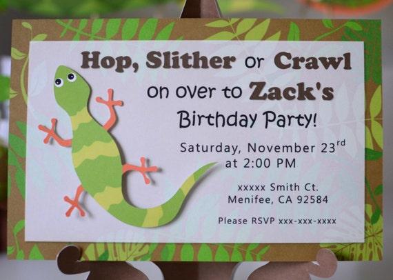 Reptile Birthday Party Invitation Lizard Salamander Gecko Etsy