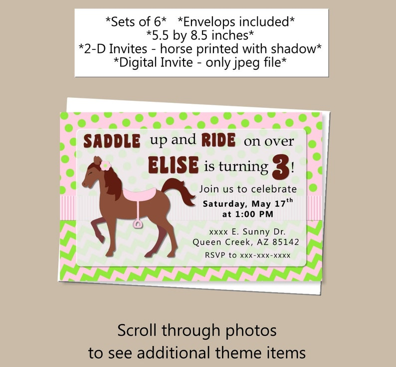 My Little Pony Birthday Invitations Cowgirl Birthday Etsy