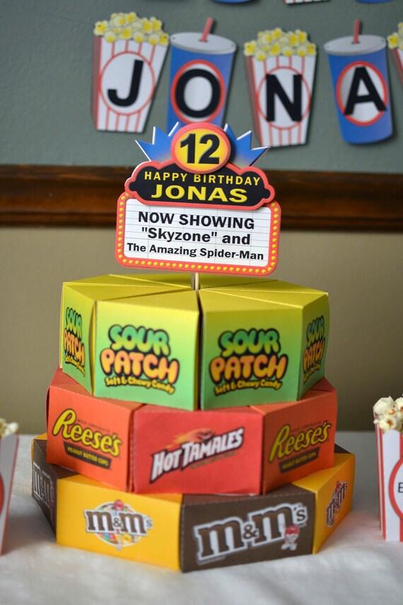 Excellent Movie Night Birthday Party Decorations Movie Theme Cake Box Etsy Funny Birthday Cards Online Alyptdamsfinfo