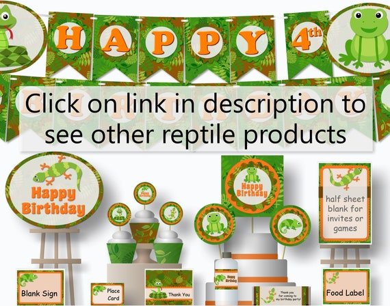 reptile birthday banner reptile birthday party decorations etsy
