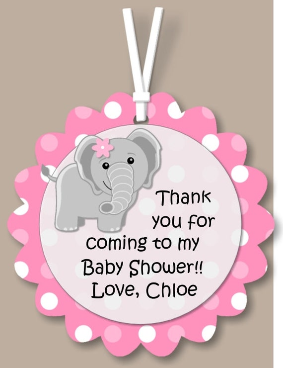 Pink Elephant Shower Tags Or 1st Birthday Party Decorations Girl Favor Tag Gift Tag Personalized Printed