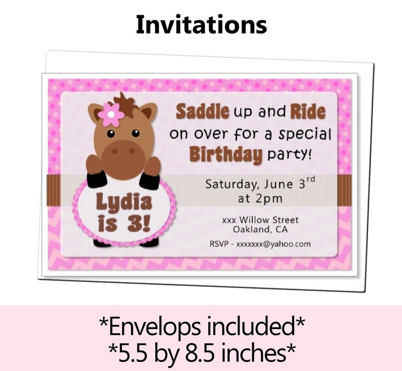 Horse Birthday Invitation Horse Party Invitations My Etsy