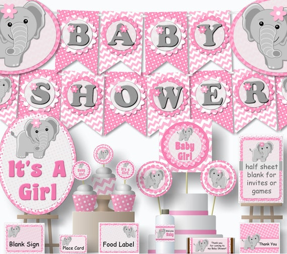 Pink Elephant Baby Shower Decorations Printable Girl Etsy