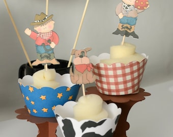 COWBOY Party CUPCAKE TOPPERS, Cowboy Birthday Party Decoration - Invite, banner, cake topper, centerpiece, party favor, supplies