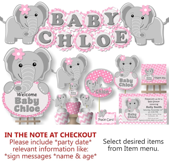 Elephant Baby Shower Decorations For Girl Elephant Theme Elephant 1st Birthday Printed Banner Cake Topper Invitation Favor Sign By Bc Paper Designs Catch My Party