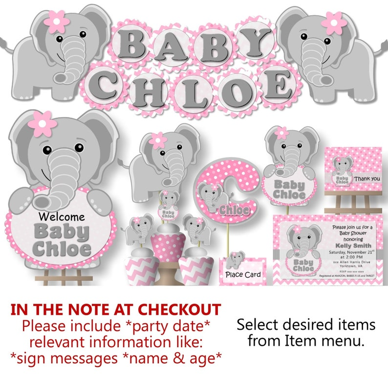 Pink Elephant Baby Shower Decorations Girl