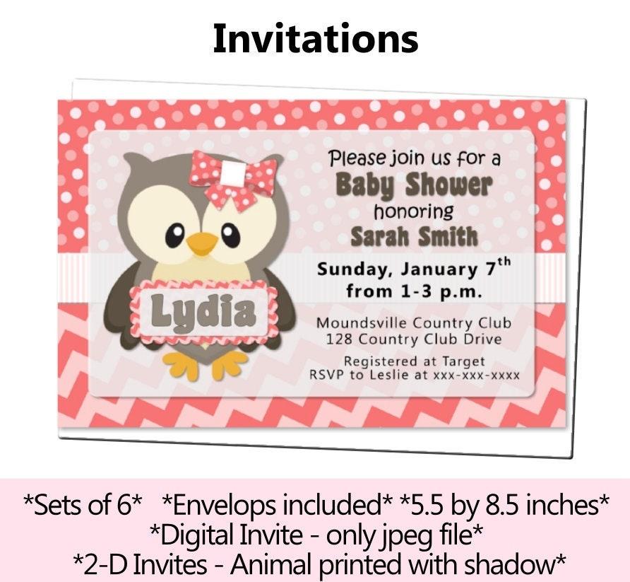 Girl Owl Baby Shower Invitation Pink Owl Birthday Invitation Etsy