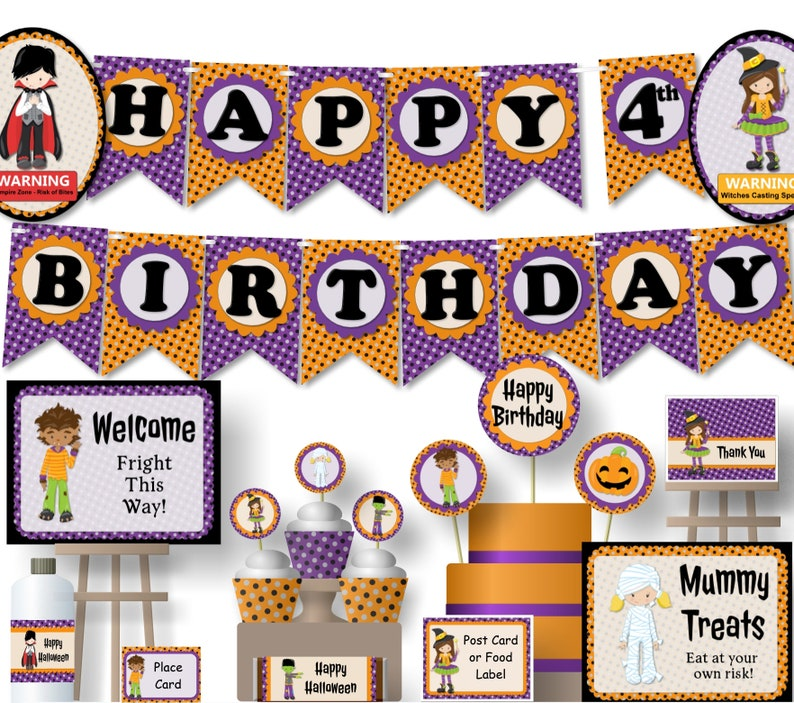 Kids Halloween Birthday Party.Kids Halloween Birthday Party Decorations Halloween Party Decorations Printable Instant Download Banner Signs Centerpiece Cupcakes