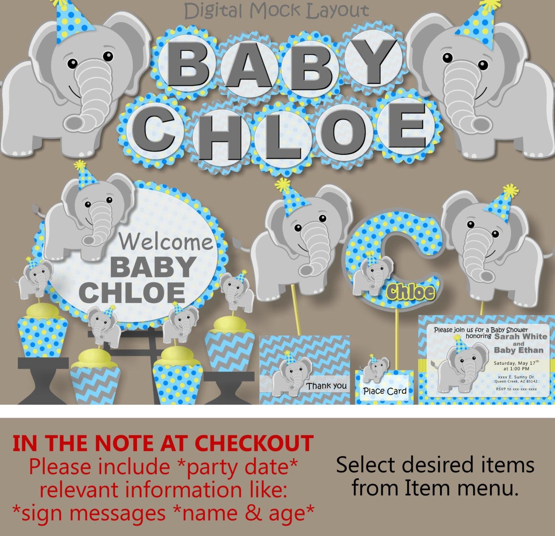 Elephant Baby Shower Decorations for Boy   Elephant Theme   Elephant 20st  Birthday   Printed Banner, Cake Topper, Invitation, Favor, Sign