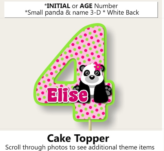 Pink Girl Panda Birthay Party Cake Topperpanda Baby Shower Etsy