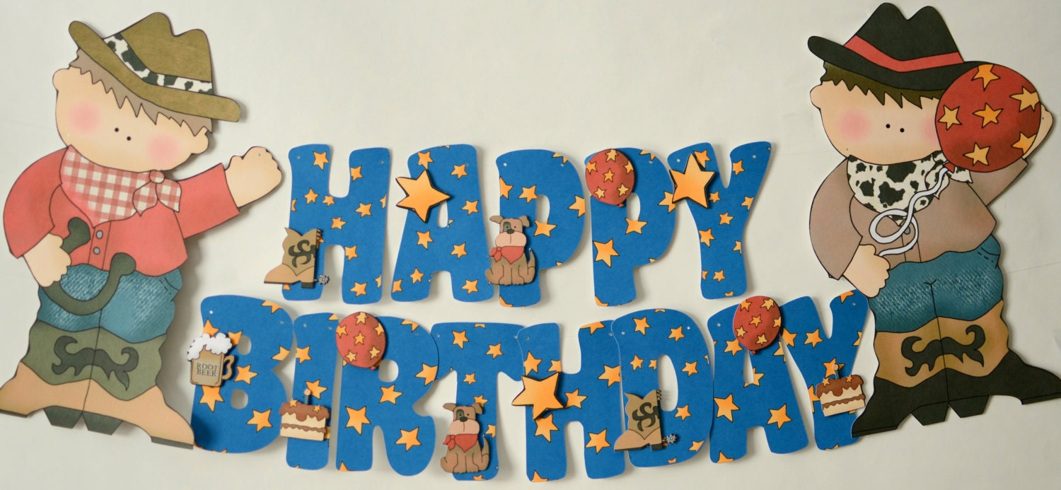 Cowboy Birthday Banner Little Cowboy Theme Party Decorations Etsy