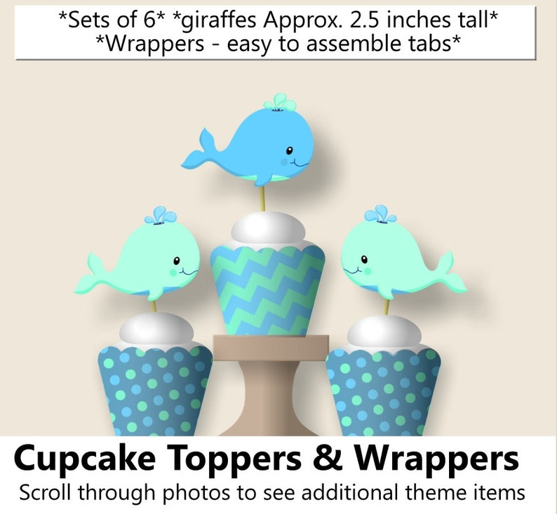 Banner Blue Favors Turquoise Teal Aqua Baby boy WHALE Baby Shower CUPCAKE TOPPERS or Whale Birthday Party Decorations Invitation