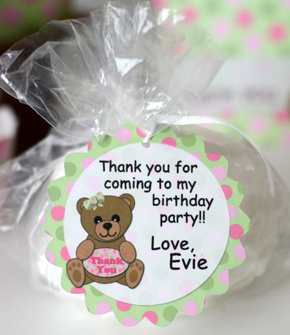 Personalized Teddy Bear Baby Shower FAVOR TAG Or 1st Birthday Party Gift Tag Custom Favor Thank You