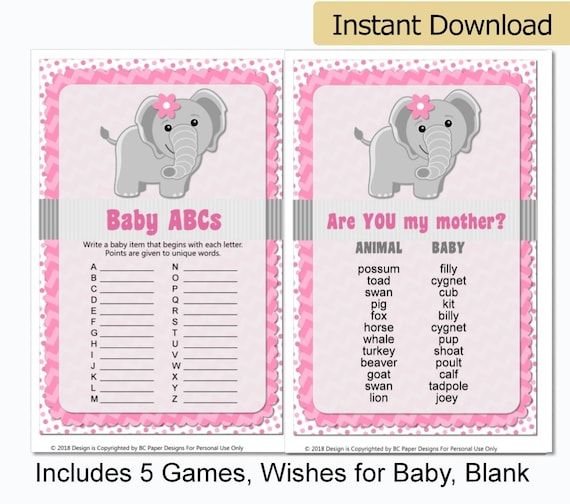 image relating to Printable Elephant Baby Shower identify Printable Elephant Kid Shower Video games - Red Elephant Child Shower Decorations - Female Elephant Youngster Shower - Printable Kid Shower Game titles
