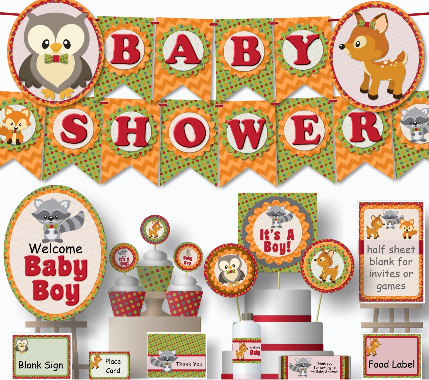 Printable Woodland Baby Shower Decorations Woodland Animals Baby Shower Decorations Fox Baby Shower Decorations Forest Gender Neutral
