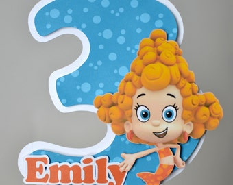 Bubble Guppies Birthday Party Cake Topper Decoration Molly, Gil, Oona, Deema, Nonny, Goby 3-D - CUSTOM Name/Age