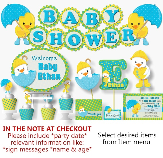 Rubber Duck Baby Shower Decorations Rubber Ducky Baby Shower Invitation Duck Birthday Party Decorations Duck Baby Shower Banner