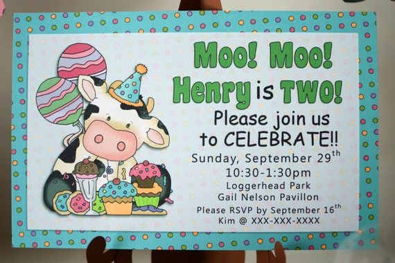 Personalized Cow Birthday Party Invitation Barnyard Party