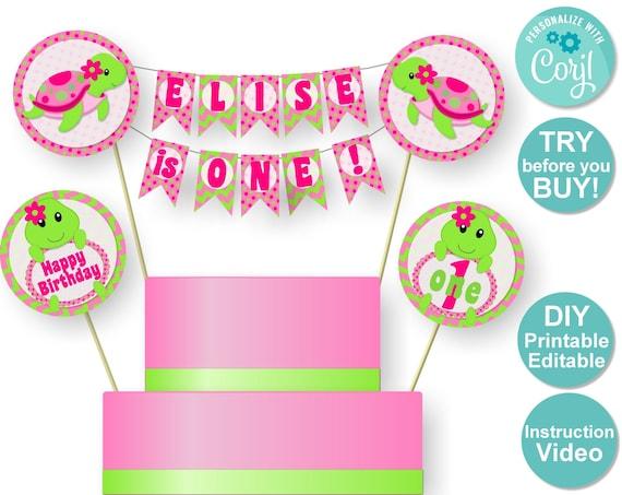 Marvelous Sea Turtle Cake Topper Turtle Birthday Party Decorations Diy Personalised Birthday Cards Veneteletsinfo