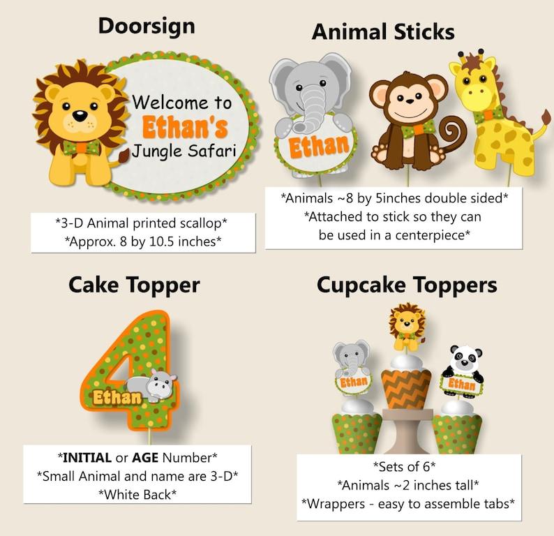 Favor Cupcake Safari Birthday Food Label Cake Topper yellow Jungle Party Place Card Banner green orange