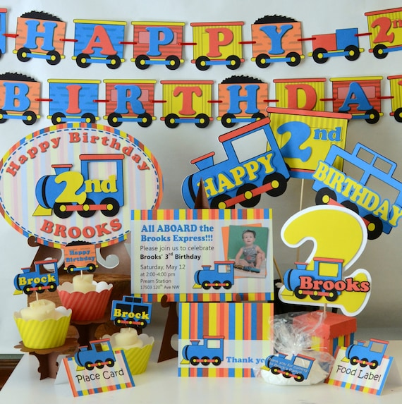Brilliant Train Birthday Party Decorations Train Party Banner Choo Etsy Personalised Birthday Cards Veneteletsinfo