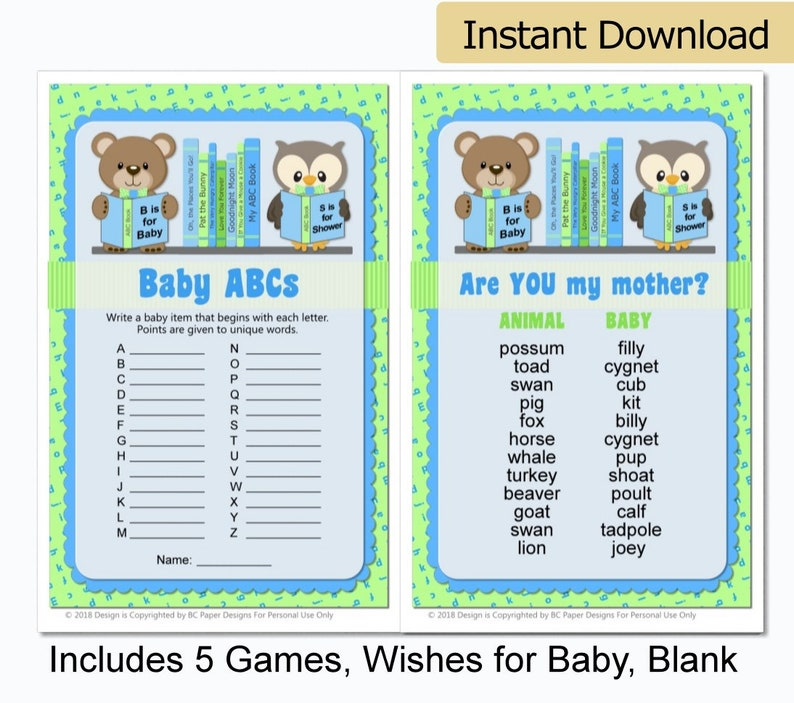 photo regarding Are You My Mother Printable Book named Reserve Themed Little one Shower Online games - Animal ABC E book Child Shower - Storybook Child Shower - Provide a Guide Child Shower - Printable