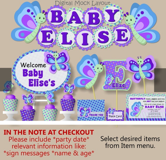 Purple Butterfly Baby Shower Decorations Butterfly Themed