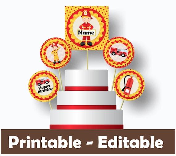 Cool Firetruck Birthday Cake Topper Fire Truck Birthday Cake Topper Funny Birthday Cards Online Alyptdamsfinfo