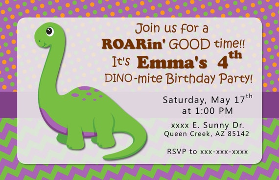 Dinosaur Birthday INVITATIONS Party Invite