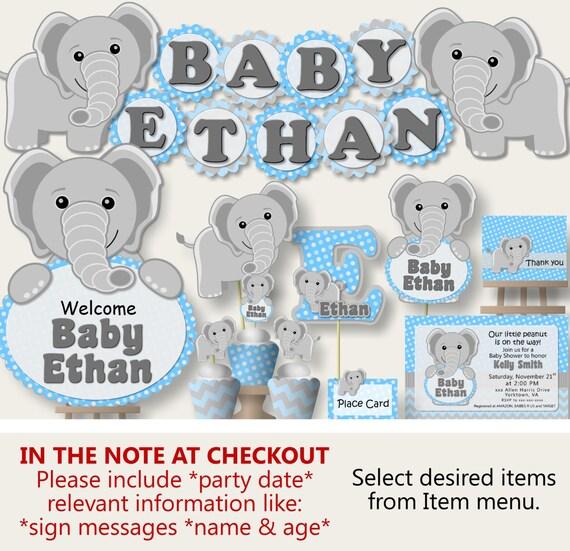 Elephant Baby Shower Decorations Elephant Baby Shower Boy Etsy