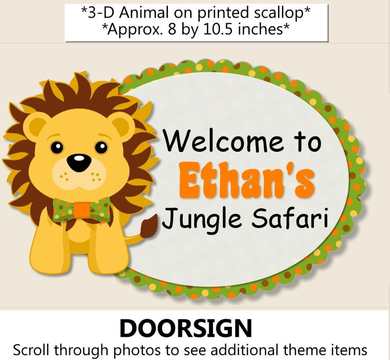 Jungle Party Door Sign Safari Birthday Party Decorations Etsy