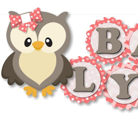 Girl Owl Baby Shower Banner Owl Birthday Banner Owl