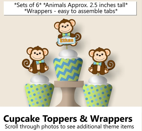 Personalized Boy Monkey 1st Birthday Party Decorations, Baby Shower - Invitation, Favor, Banner, Cake Topper, Table Centerpiece