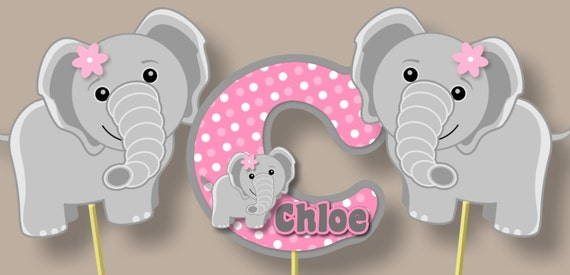 Pink Elephant Baby Shower Cake Topper
