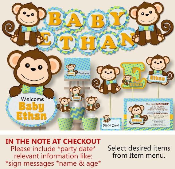 Outstanding Boy Monkey Baby Shower Decorations Monkey First Birthday Etsy Personalised Birthday Cards Veneteletsinfo