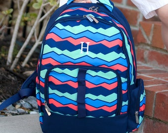 In Stock Ready to Ship Personalized Monogrammed Mint Coral Navy Blue Stripe  Overlook Backpack -- Free Monogramming--FAST TURNAROUND 5f78b653a4973