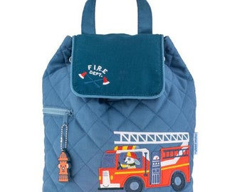SHIPS NEXT DAY--Personalized Monogrammed --New Pattern-- Stephen Joseph Kid Quilted Fire Truck Dog Dalmation Backpack--Free Monogramming--