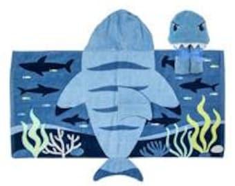 Personalized Monogrammed --Stephen Joseph Kid Bath Beach Blue Shark Hooded Towel--Fast Turnaround--Free Monogramming--
