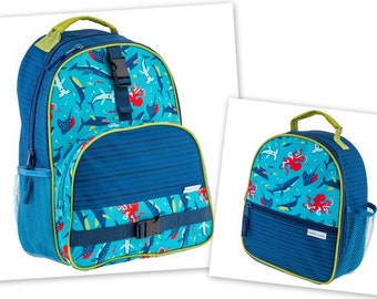 Personalized Monogrammed Stephen Joseph All over print Shark Whale Backpack and Lunch tote combo-Fast Turnaround--Free Monogramming