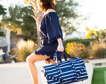Monogrammed Personalized Navy and White Stripe Unisex Duffle Overnight bag Tote  --- FREE MONOGRAMMING--Fast Turnaround