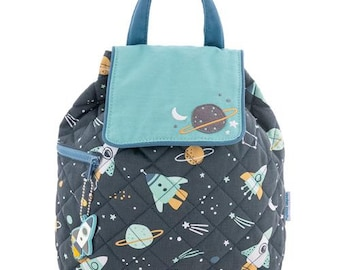 Personalized Monogrammed --New Pattern- Stephen Joseph Kid Quilted Blue Space Rocket Planet Backpack--Free Monogramming--Fast Turnaround