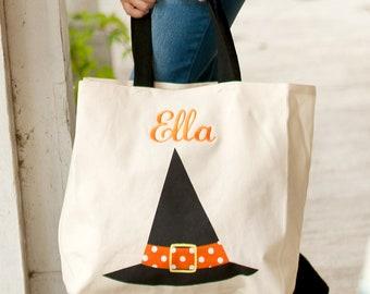 SALE **Personalized Monogrammed Halloween Canvas Tote Bag Bucket Witch Hat black orange--Free Monogramming--FAST TURNAROUND