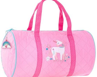 SHIPS NEXT DAY---Personalized Monogrammed Stephen Joseph Quilted Pink Teal Unicorn Duffle Bag Dance Travel Tote Bag --Free Monogramming