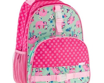 Personalized Monogrammed Stephen Joseph All over print Pink Mint Sloth Backpack Preschool --Fast Turnaround--Free Monogramming--